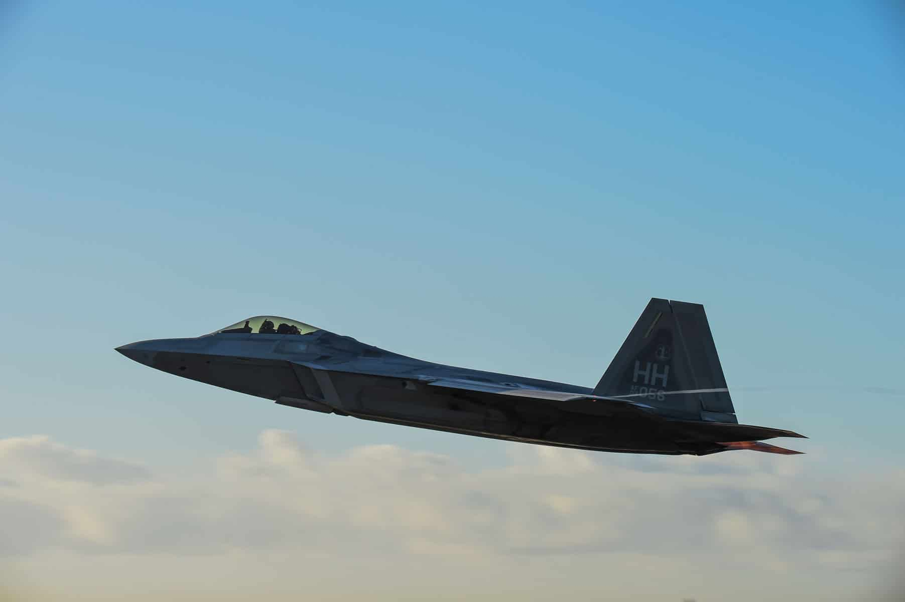 A U.S. Air Force F-22 Raptor from Hawaii Air National Guard's 154th Wing takes off for the morning mission during Sentry Aloha 18-01.