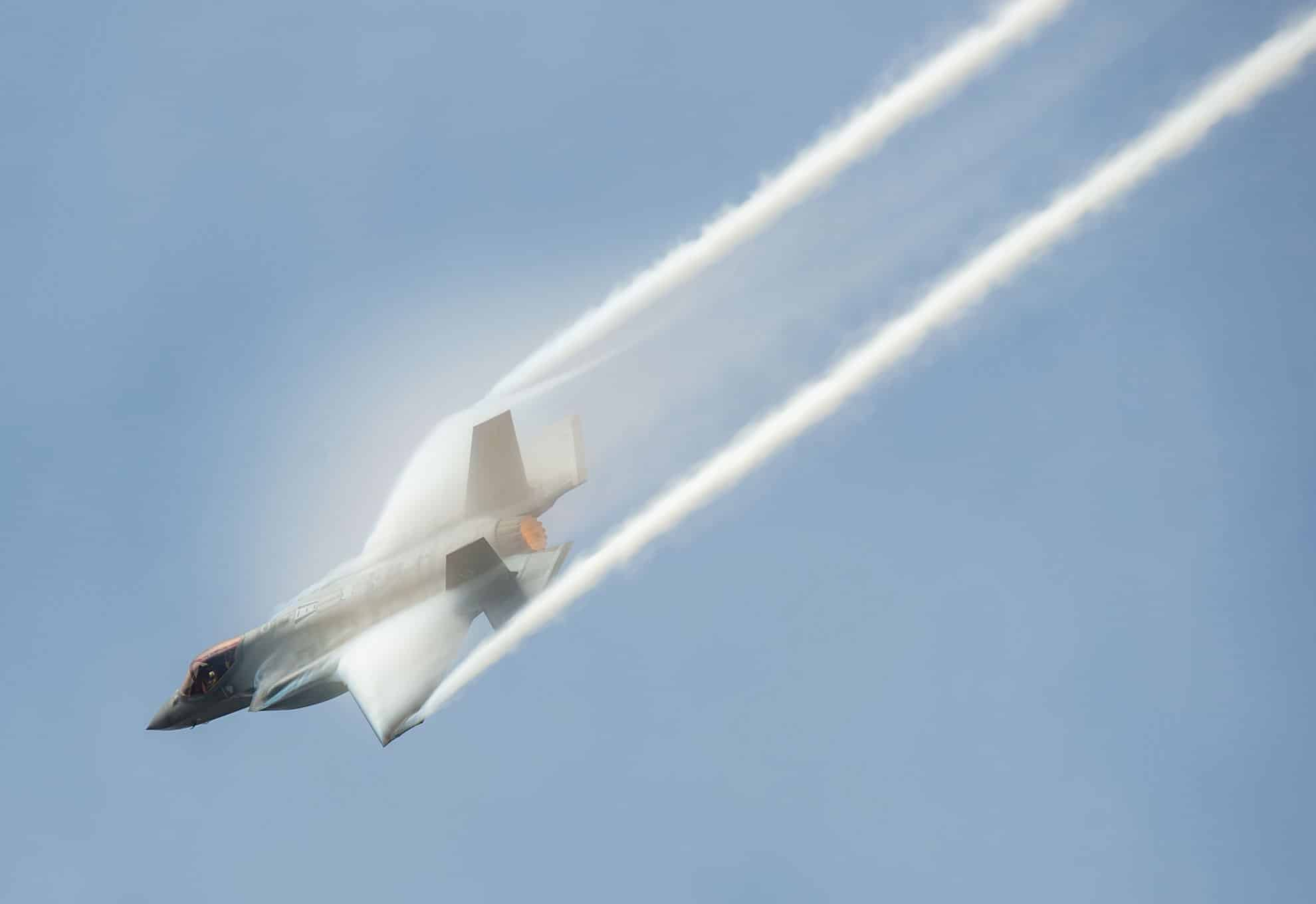 The commander performs aerial maneuvers during the Bell Fort Worth Alliance Air Show. The F-35 is the Air Force's most advanced fifth-generation stealth fighter.
