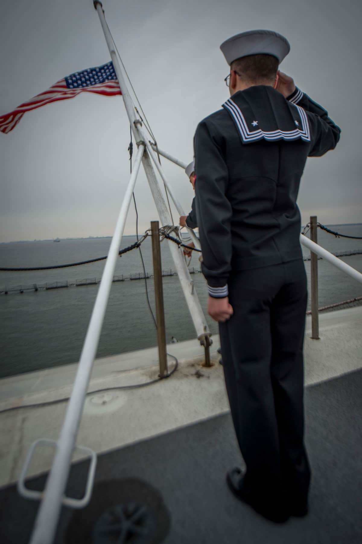 USS George H.W. Bush American Flag Salute