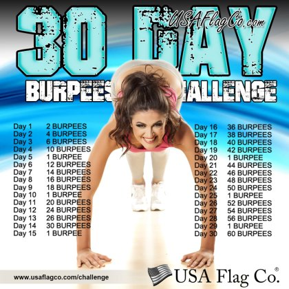 30 Day Burpees Challenge by USA Flag Co.