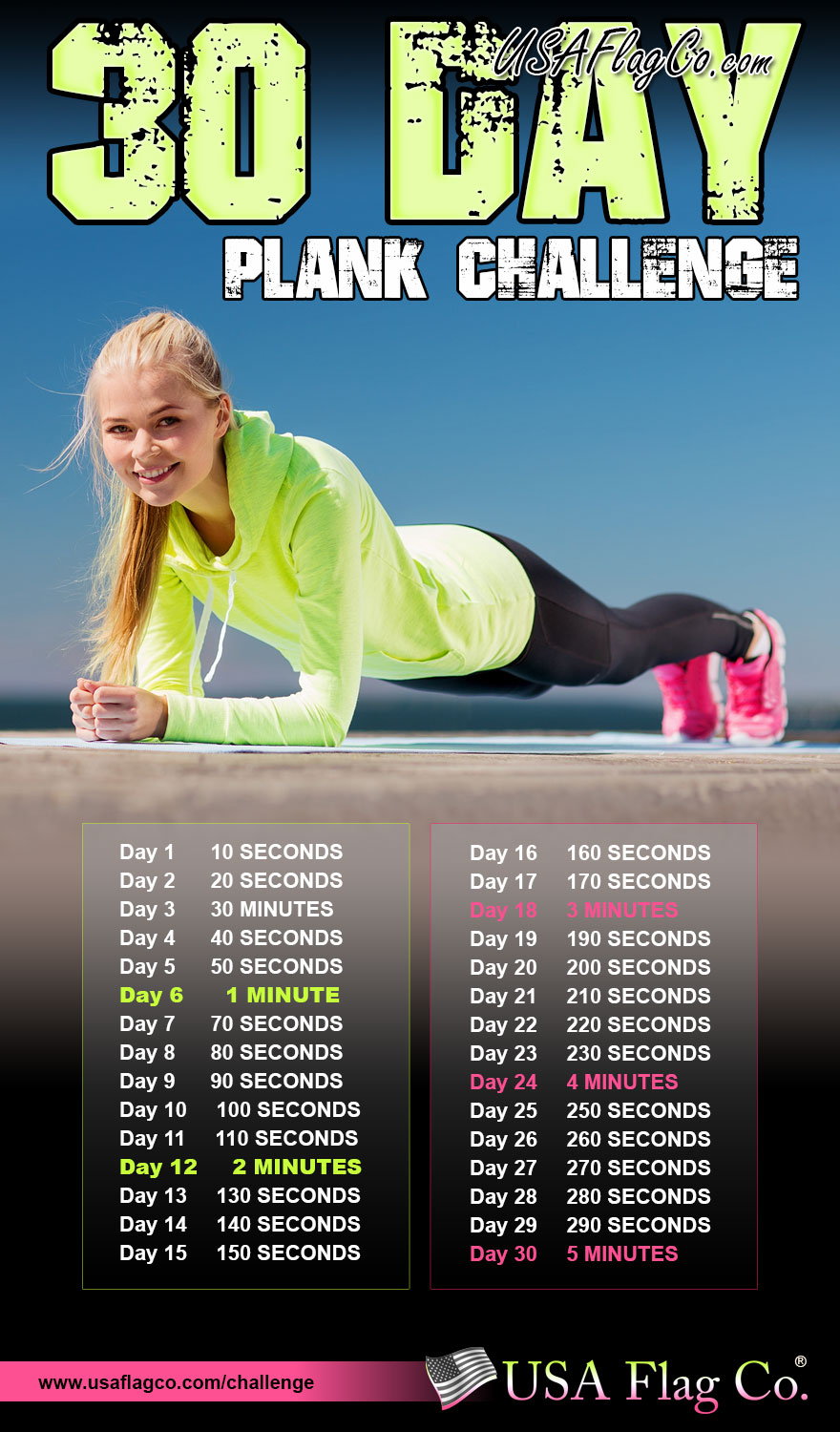 30 Day Plank Challenge by USA Flag Co.