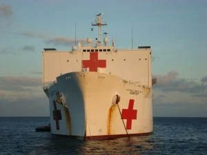 May 2009 photo of the USNS COMFORT, one of the U.S. Navy's two hospital ships. Photo by Jim Dolbow.