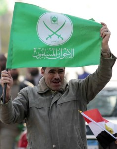 Supporter of The Freedom and Justice Party of Egypt's Muslim Brotherhood participates in a march in support of senior Hamas leader Ismail Haniyeh's visit, in Cairo