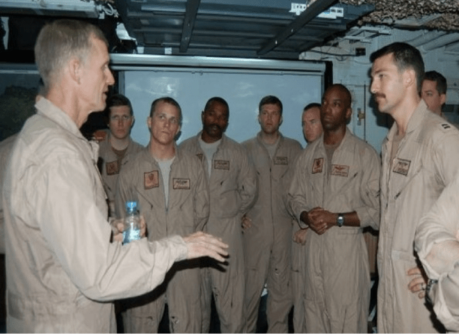 July 2010, onboard the U.S.S. DWIGHT D. EISENHOWER: Then ISAF Commander, General McChrystal, explains to aviators how their implementation of the new CAS paradigm has affected OPERATION ENDURING FREEDOM.