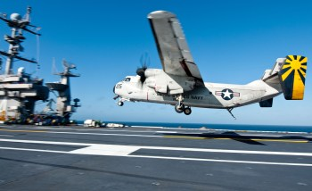 Landing in the C-2A Greyhound on board the USS John C. Stennis (CVN-74) was strange for a civilian--in seats facing backwards and going from 150 mph to zero in a couple of seconds.