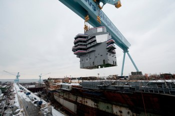 Construction of Gerald R. Ford in 2013. U.S. Navy photo courtesy Huntington Ingalls Industries.