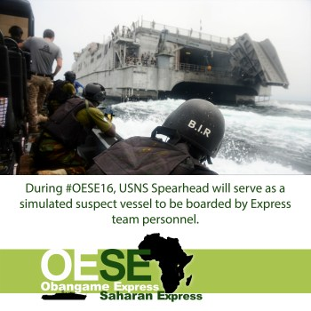 USNS Spearhead (T-EPF-1) is the U.S. Navy ship participating in OE/SE 2016. (U.S. Navy graphic by Mass Communication Specialist 2nd Class Corey Hensley).