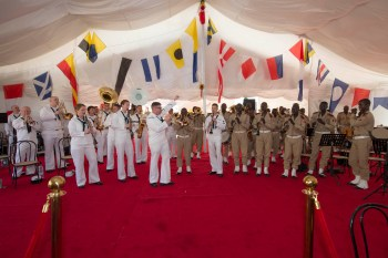 The U.S. Naval Forces Europe Band and the Musique Principale des forces Armies Senegalaise play together at the opening ceremony for OE/SE 2016. (U.S. Navy photo by Mass Communication Specialist 3rd Class Weston Jones).