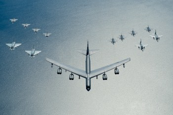 A United States Air Force ‎B-52 Stratofortress leads a formation of aircraft including two Polish air force ‎F-16 Fighting Falcons, four U.S. Air Force F-16 Fighting Falcons, two German ‎Eurofighter ‎Typhoons and four ‎Swedish ‎Gripens over the Baltic Sea, 9 Jun, 2016