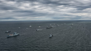 During BALTOPS 2016, 15 mine counter measure ships from 13 nations (Belgium, Denmark, Estonia, Finland, France, Germany, Latvia, Lithuania, Netherlands, Norway, Sweden, United Kingdom, and United States) maneuvered in close formation near command ship USS Mount Whitney (LCC-20).