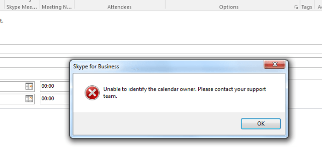 Skype for Business – Office 2016 Unable to Verify Calendar