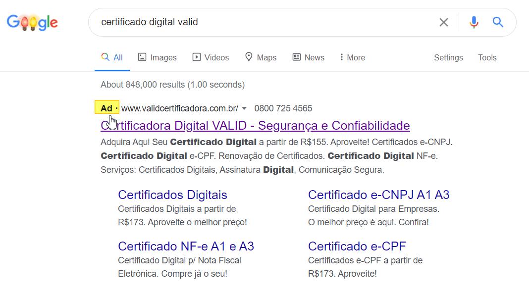 Print Busca Paga - Midia Google Valid Certificadora