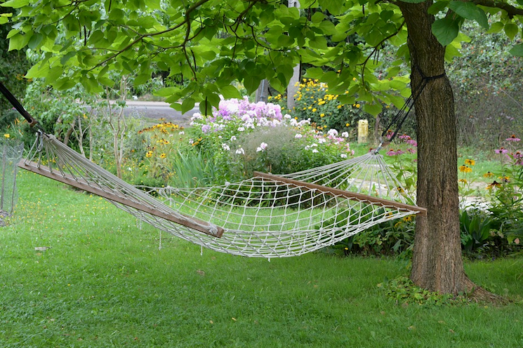 empty garden hammock when owners are on holiday