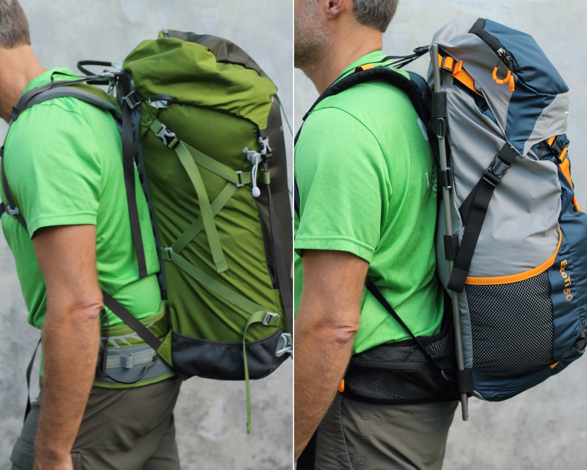 Difference between the ExoTi and a typical backpack