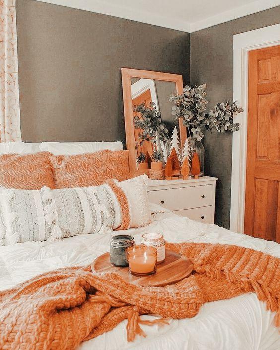 deka oranžová podzimní ložnice