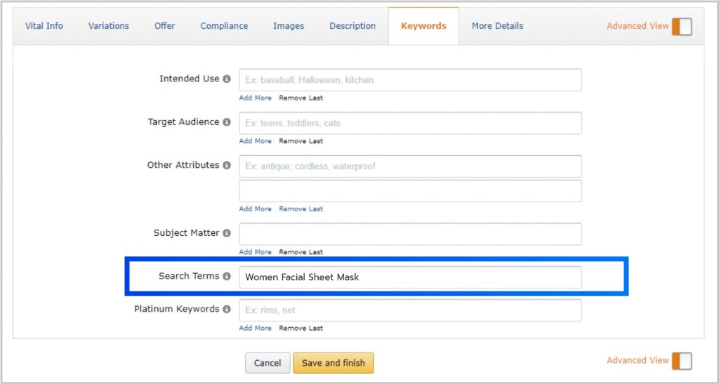 Adding search term on Amazon product listing