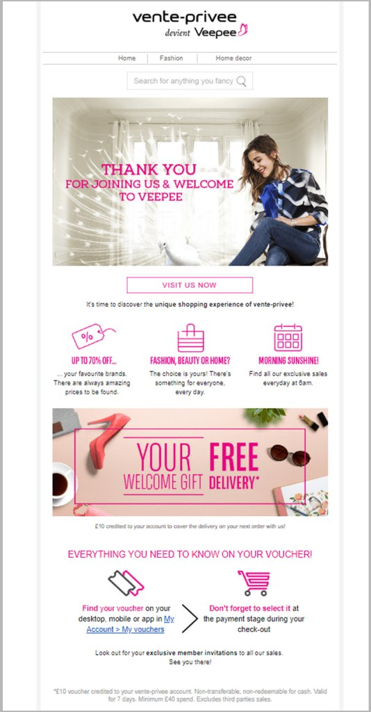 product focused welcome email template