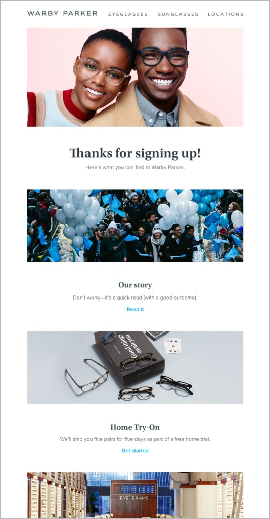 Welcome email template for signing up