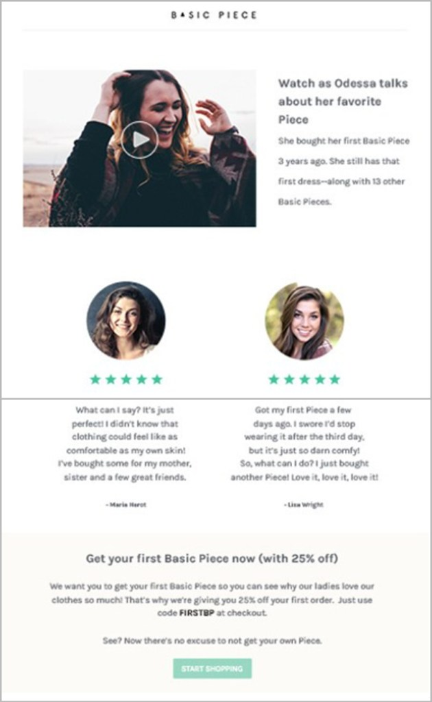 Welcome email template with testimonials