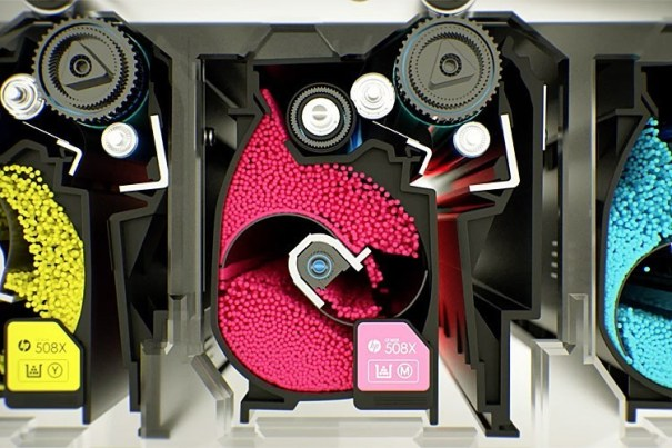 Imagen del interior del tóner HP ColorSphere3 con tecnología JetIntelligence.