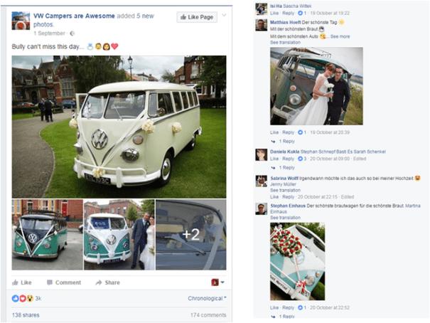 Publicación de VW Campers que logró un nivel muy alto de interacciones