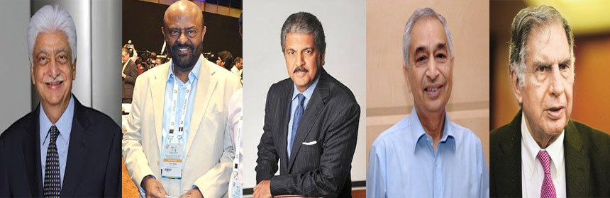 India's Top 5 Philanthropic Businessmen.Businessmen,Ratan tata.Azim Premji,Shiv Nadar,Anand Mahindra,Vineet Nayyar