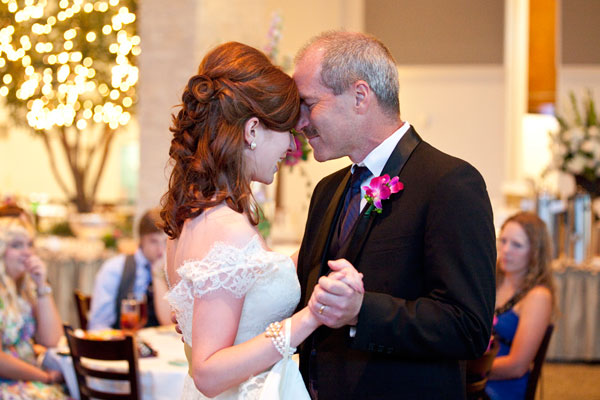 father and daughter dance on her wedding day
