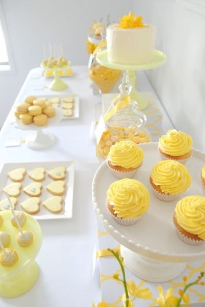 pineapple cupcakes and dessert for baby shower party