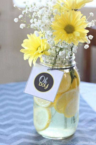 flower vase decoration idea baby shower party