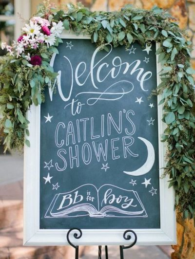 Welcome sign for baby shower party with tropical themes