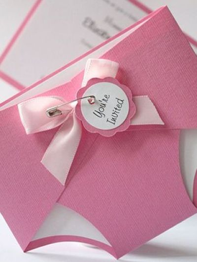 Cute diaper baby shower invitation for baby girl