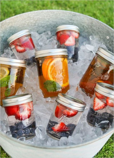 Healthy jar water for outdoor baby shower party