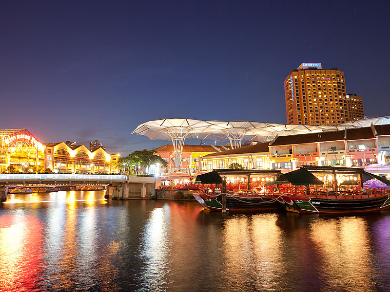 outdoor view around tongkang riverboat dining event