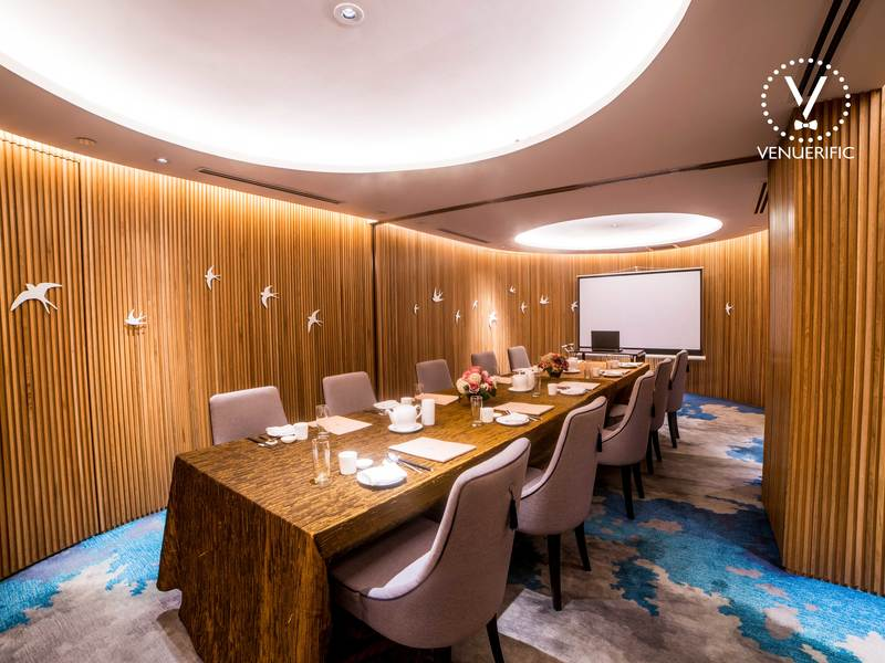 small meeting room setting with screen projector