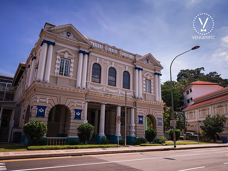 grand venue with historical building around singapore