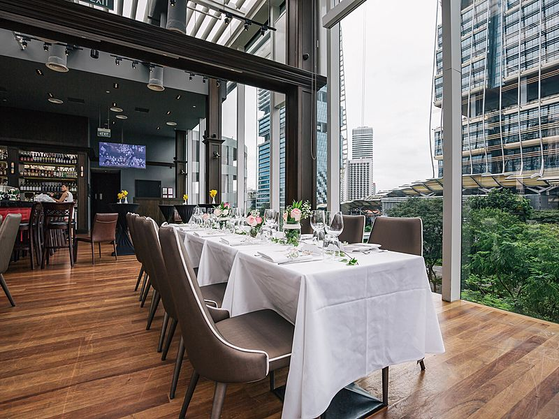 Huge and spacious restaurant with nice view of the city