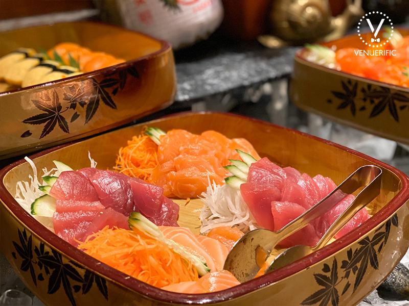 fresh and delicious salmon and sashimi