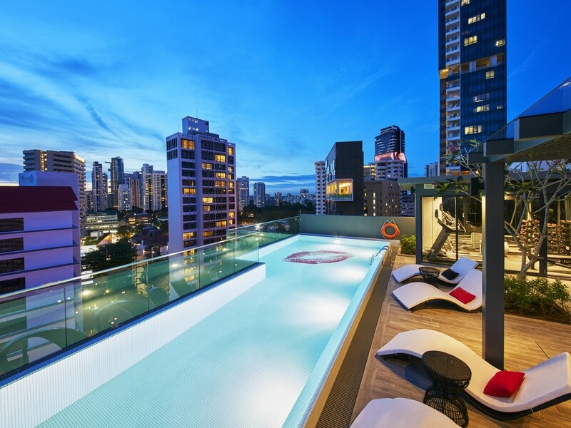 rooftop poolside area overlooking the city
