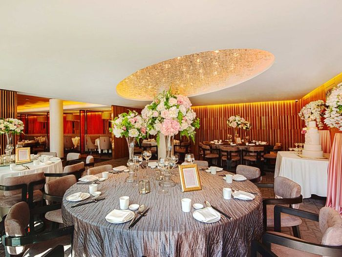 dining hall with flower table decoration