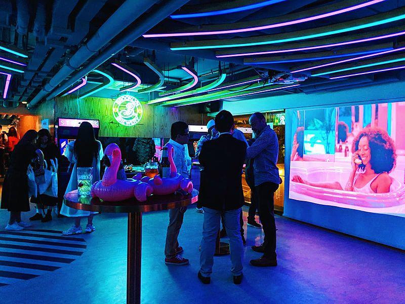 neon lit party room in hong kong