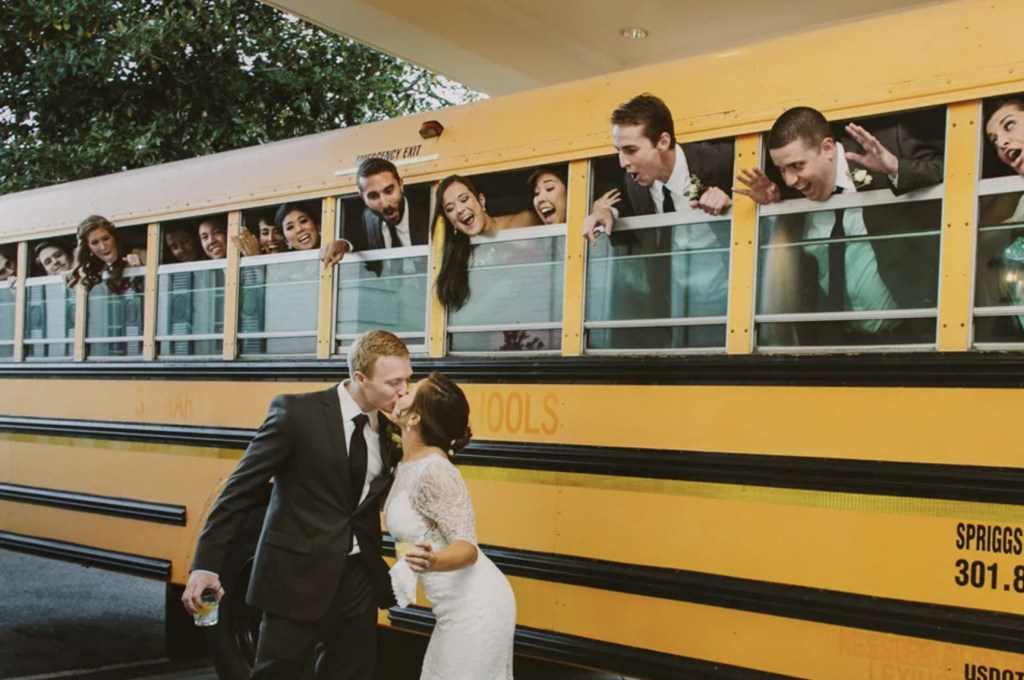 wedding with school bus