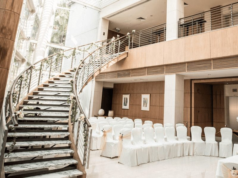 elegant spiral stairway for the couple to descend graciously