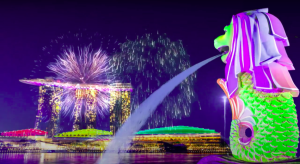 merlion park featuring fireworks during national day parade