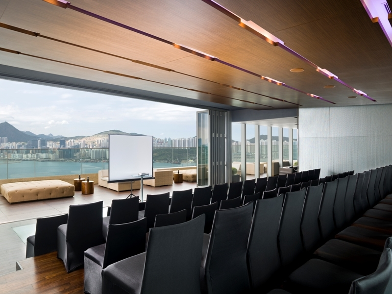 corporate seminar and training using theatre style seating with panoramic sea view