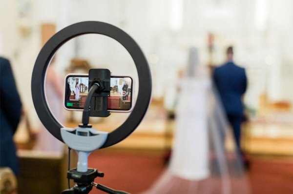 virtual wedding solemnisation event at church recorded for wedding live streaming