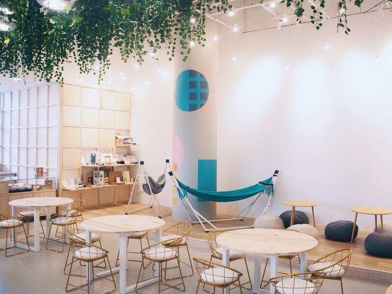 minimalistic cafe with hammock