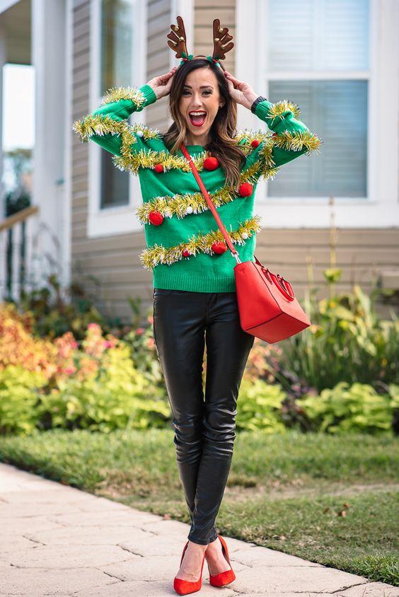 women wearing green christmas sweater and headband