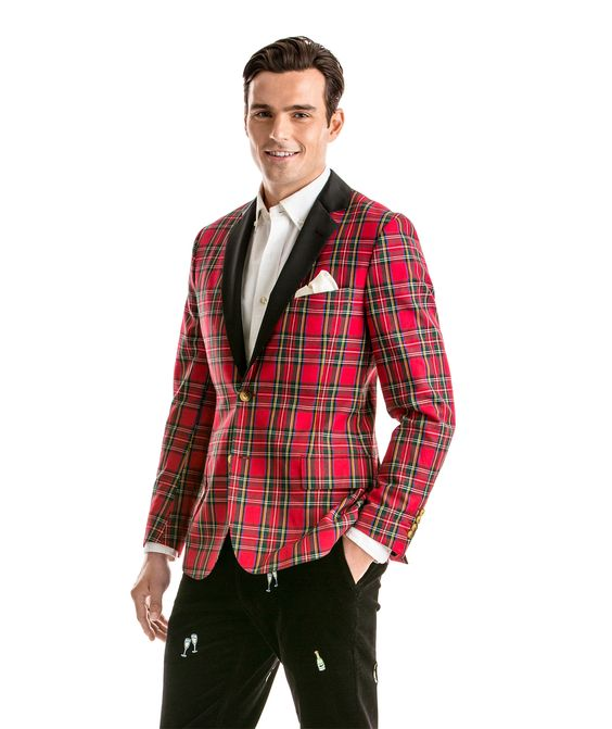 men in singapore wearing red patterned christmas suit