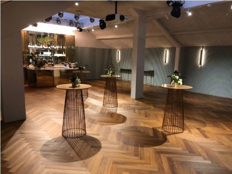 wooden floors and cocktail table in singapore private venue