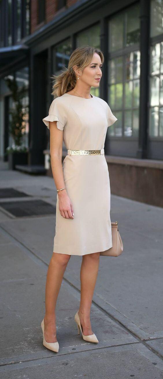 lady in a beige dress